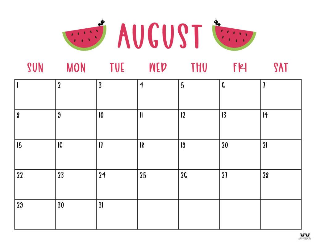 Printable August Calendar-Style 10