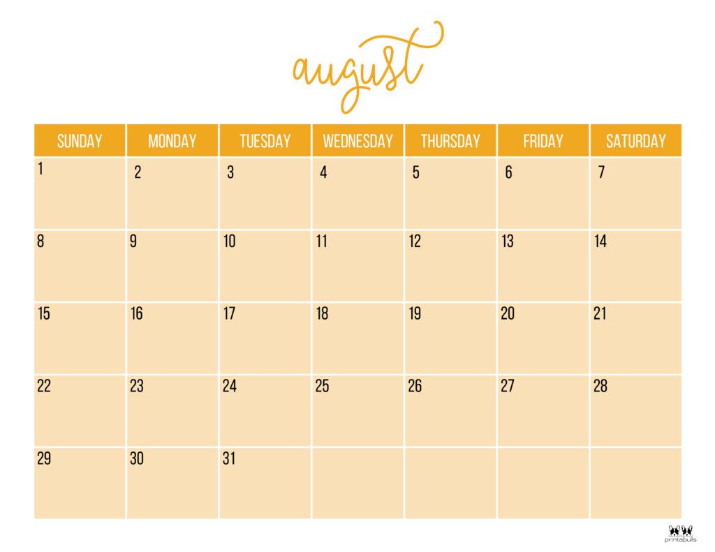 Printable August Calendar-Style 11