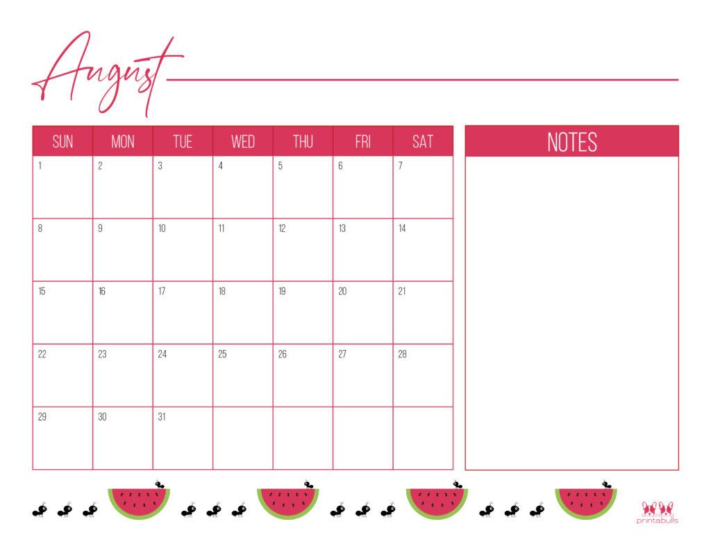 Printable August Calendar-Style 12