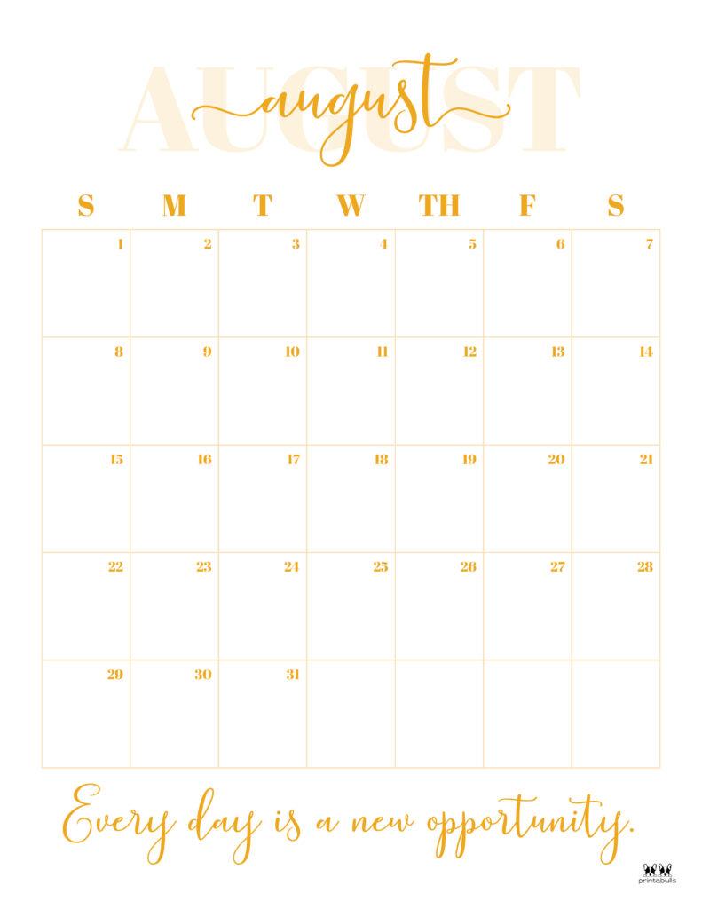Printable August Calendar-Style 13