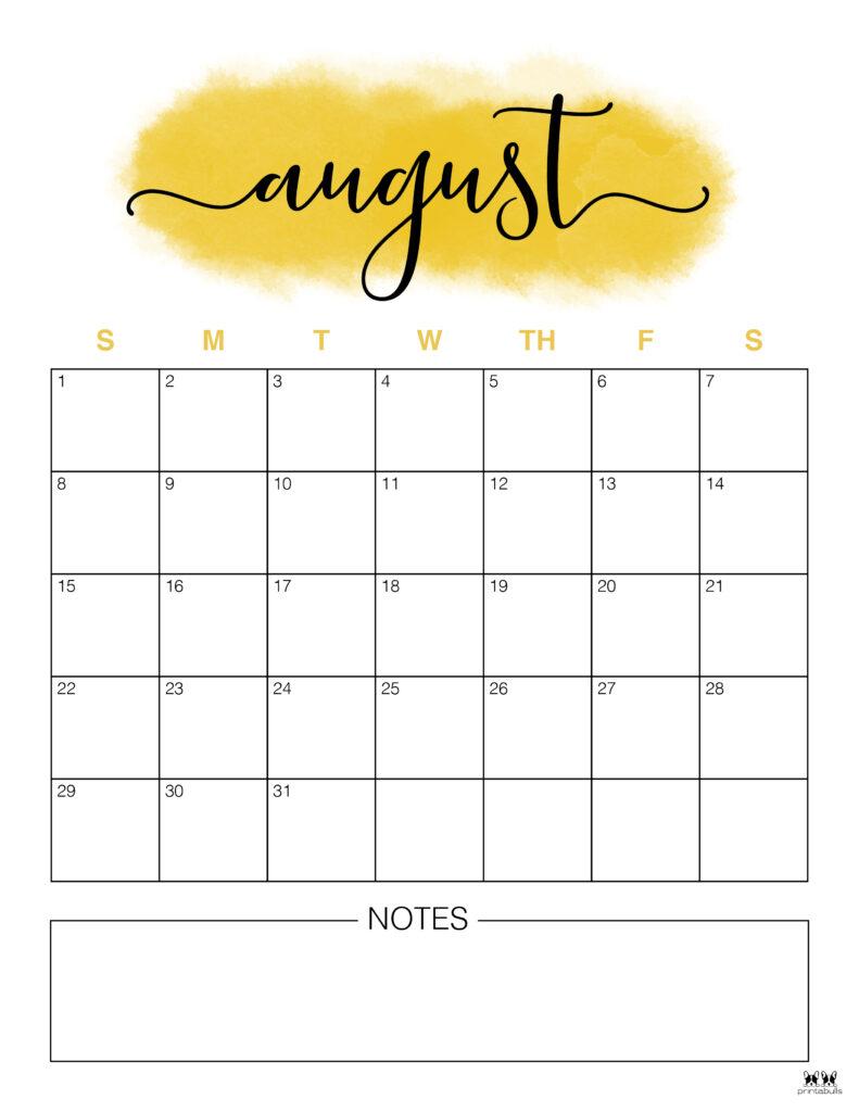 Printable August Calendar-Style 14
