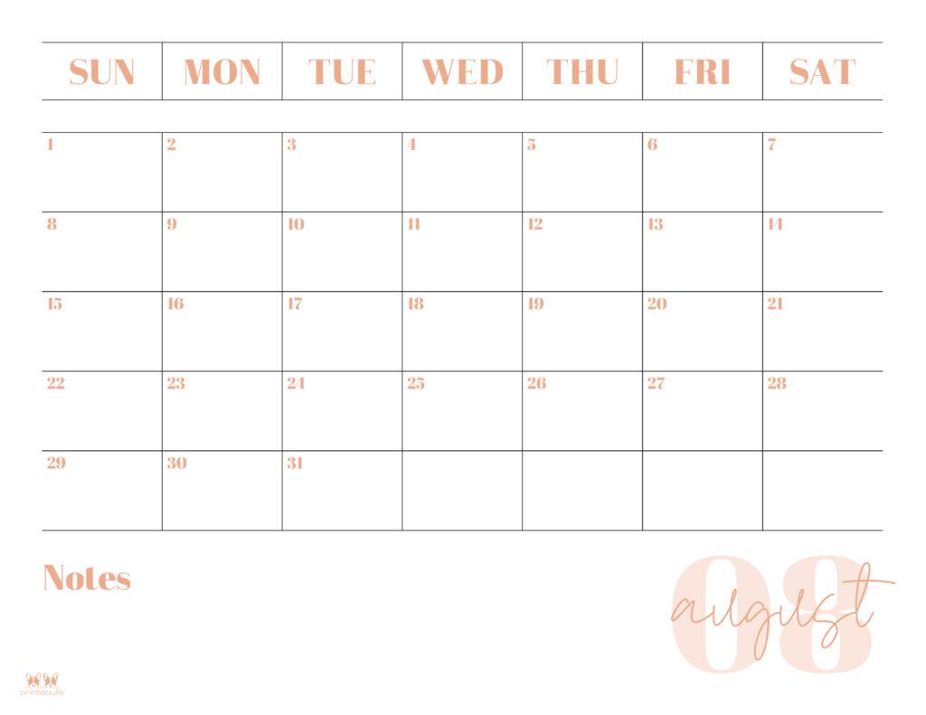 Printable August Calendar-Style 2