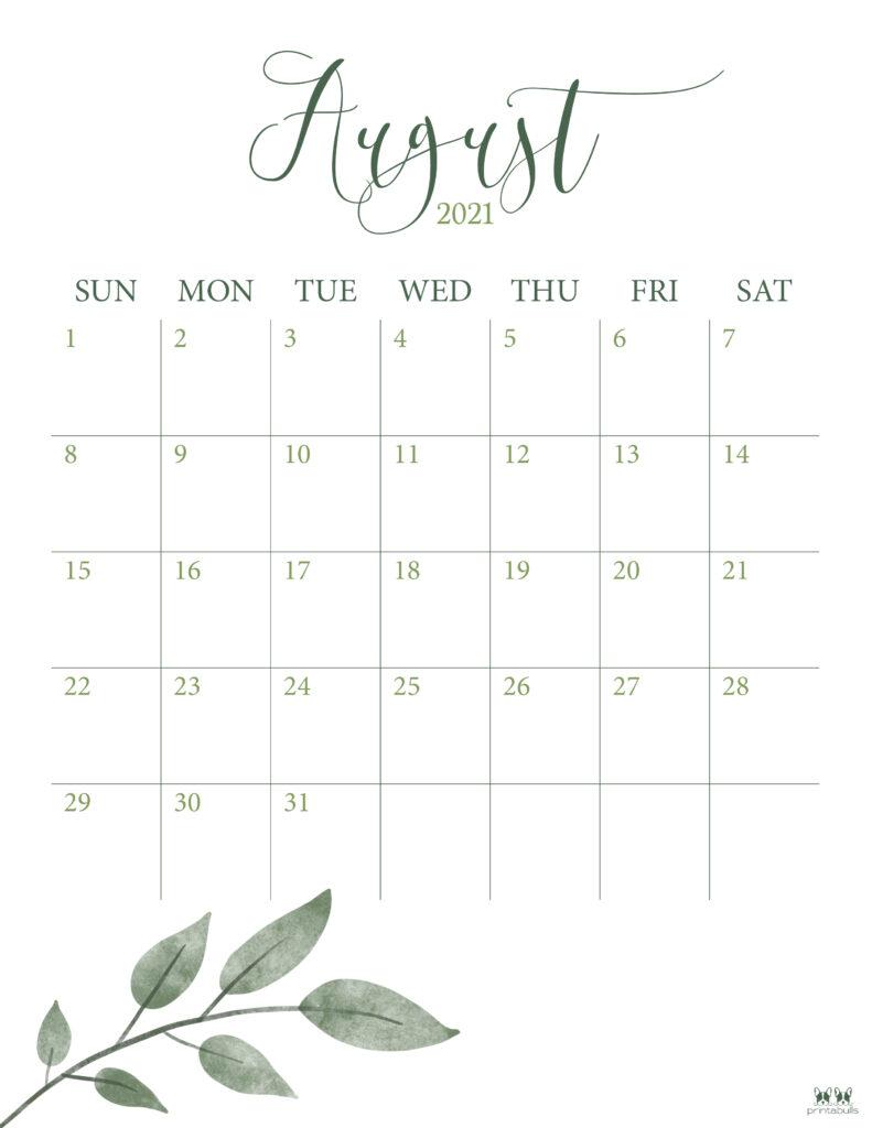 Printable August Calendar-Style 3