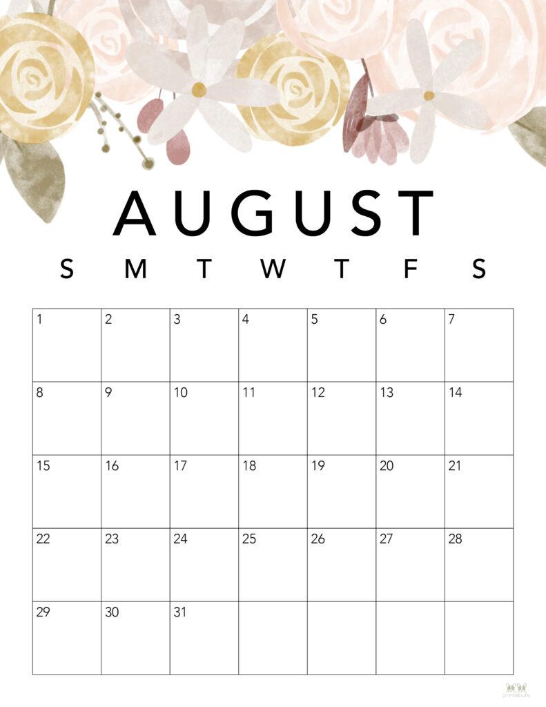 Printable August Calendar-Style 4