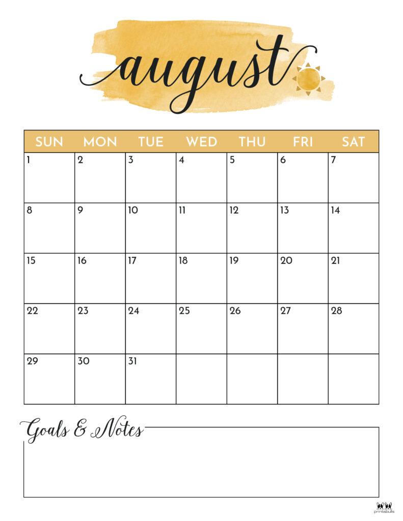 Printable August Calendar-Style 5