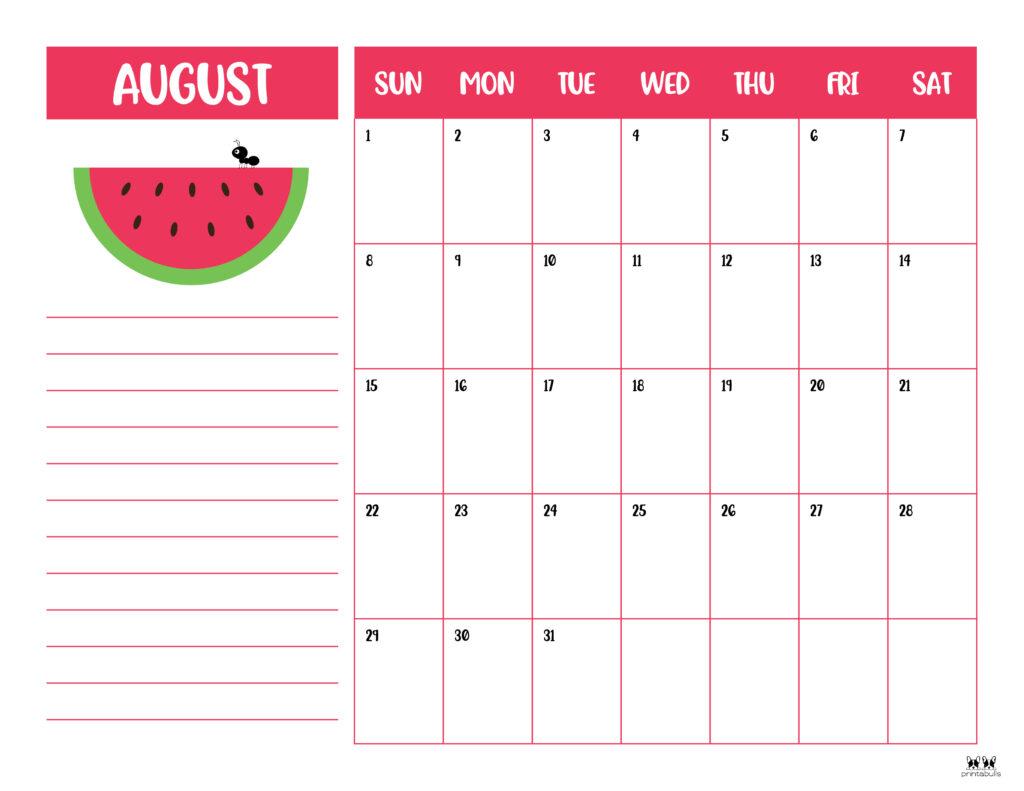 Printable August Calendar-Style 6