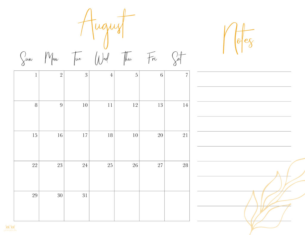 Printable August Calendar-Style 7