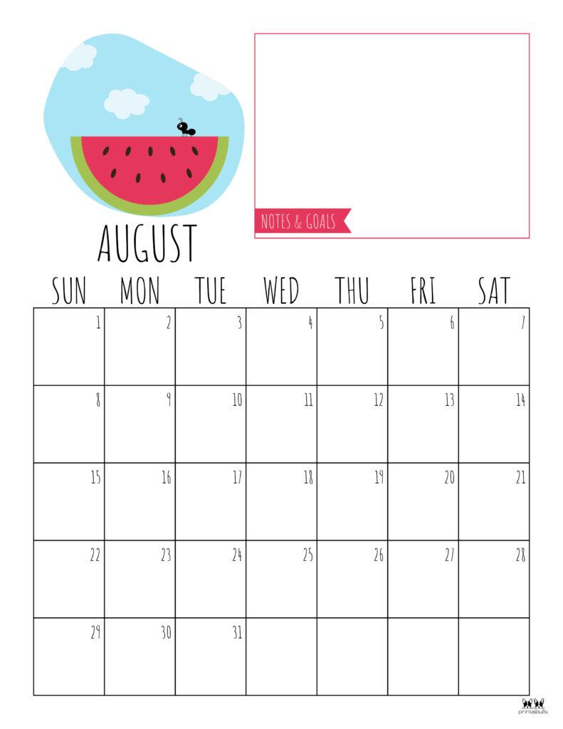Printable August Calendar-Style 8