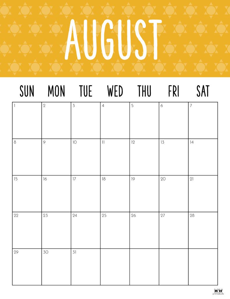 Printable August Calendar-Style 9
