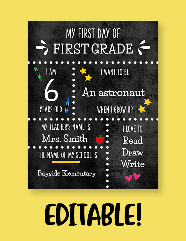 Printable-First-Day-of-School-Sign-Set-29-Editable