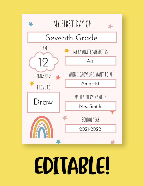 Printable-First-Day-of-School-Sign-Set-33-Editable