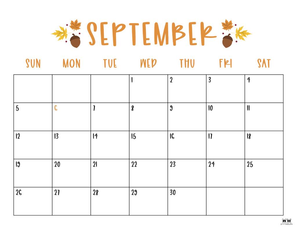 Printable September Calendar-Style 10