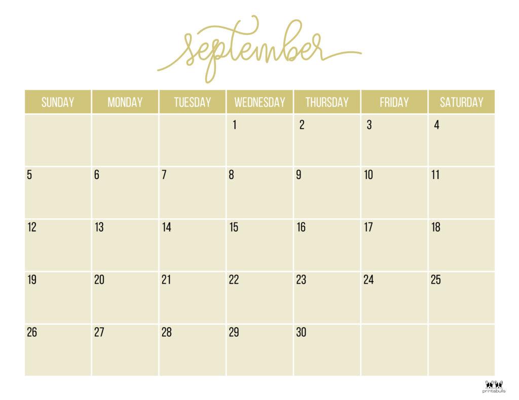 Printable September Calendar-Style 11