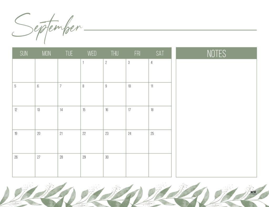 Printable September Calendar-Style 12