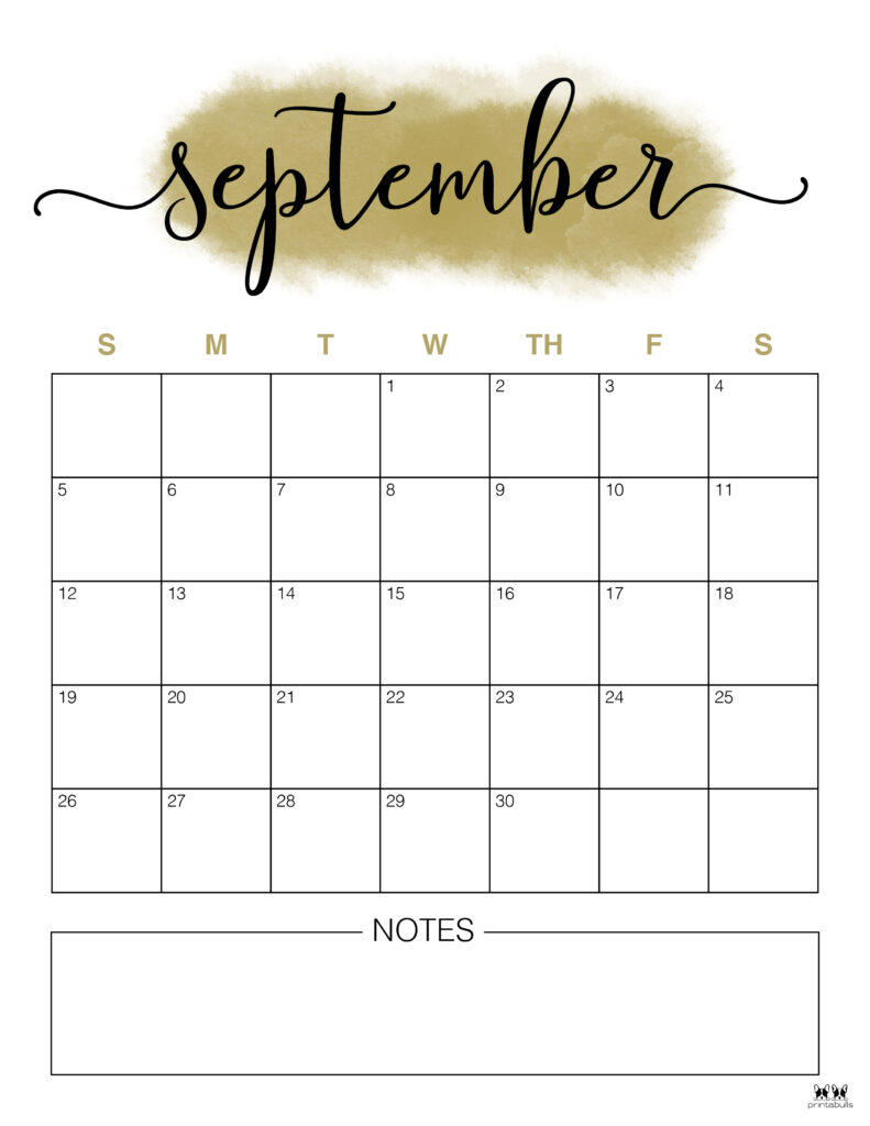 Printable September Calendar-Style 14