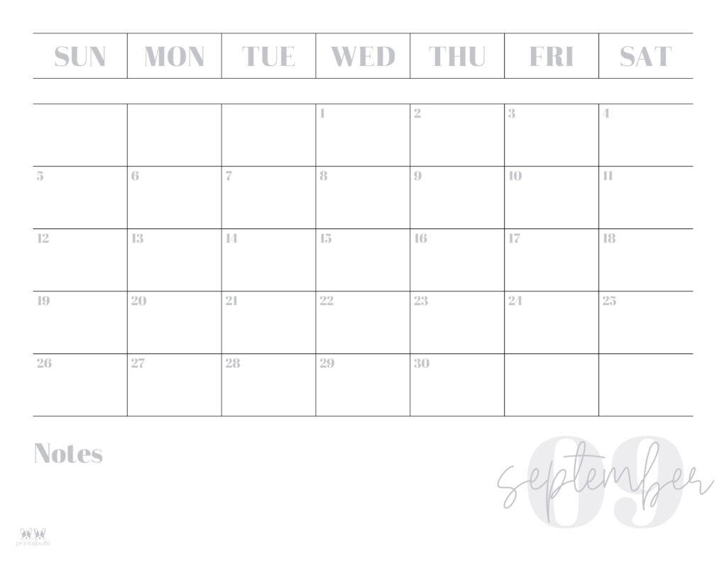 Printable September Calendar-Style 2