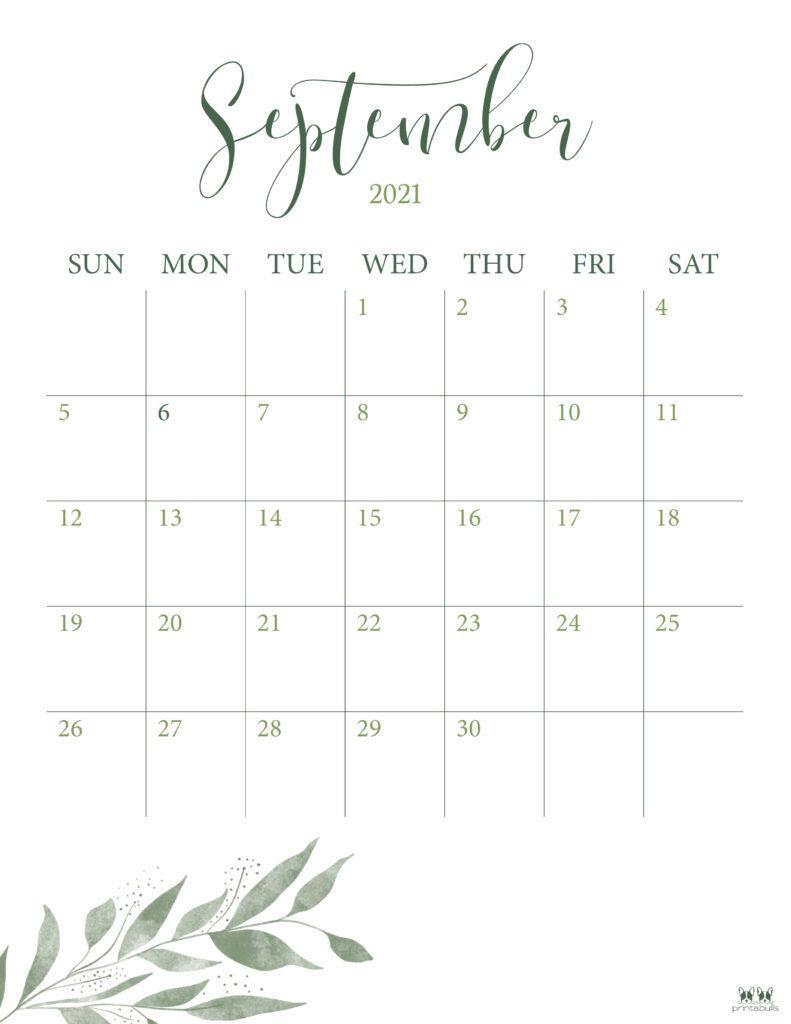 Printable September Calendar-Style 3