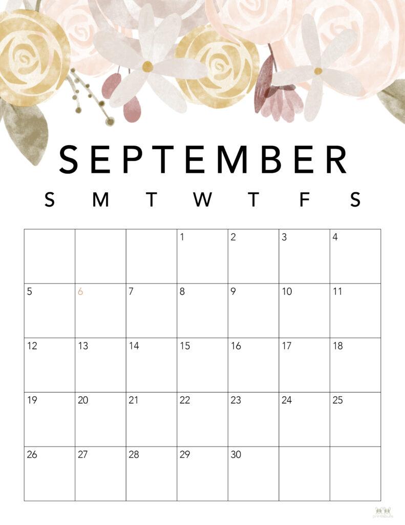 Printable September Calendar-Style 4