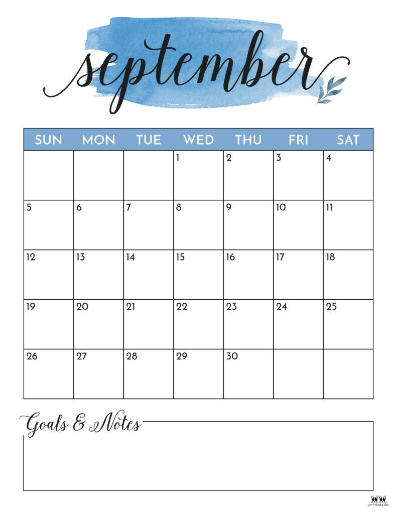 Printable September Calendar-Style 5