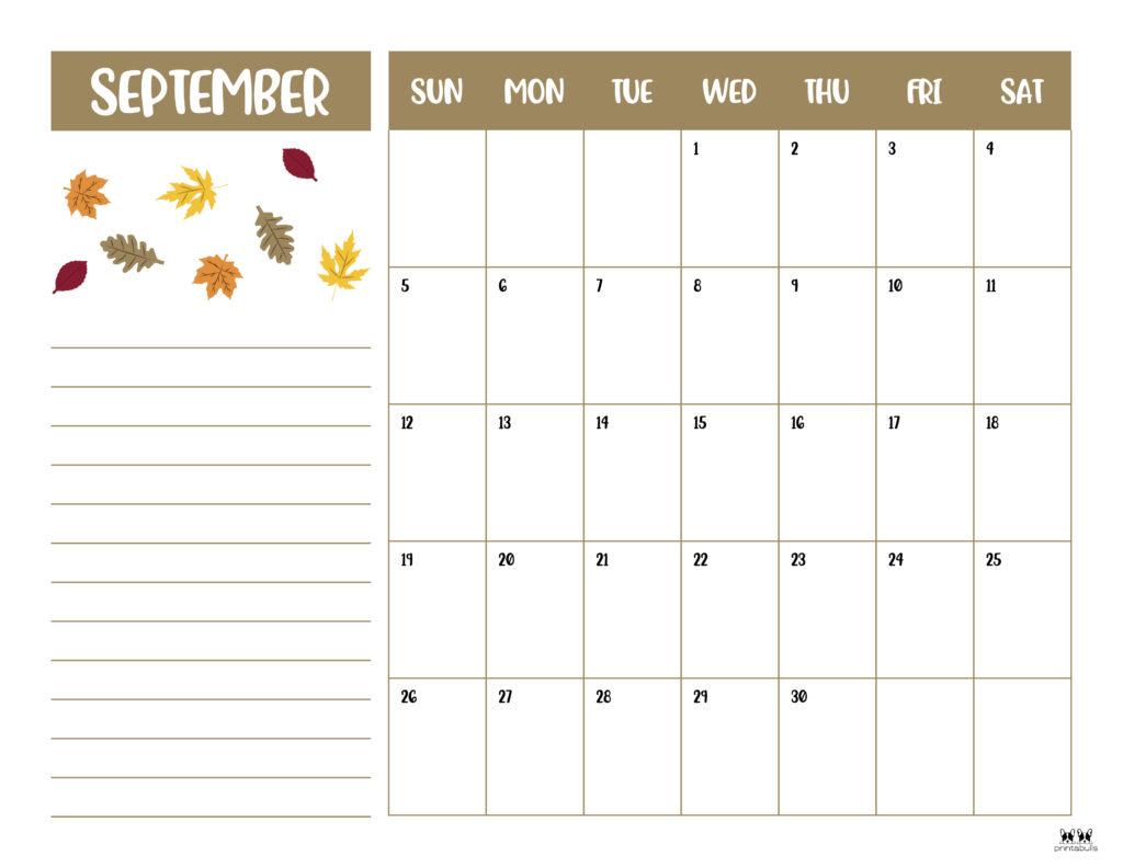 Printable September Calendar-Style 6