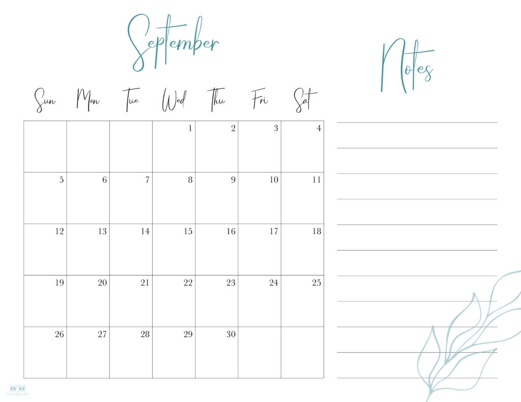 Printable September Calendar-Style 7