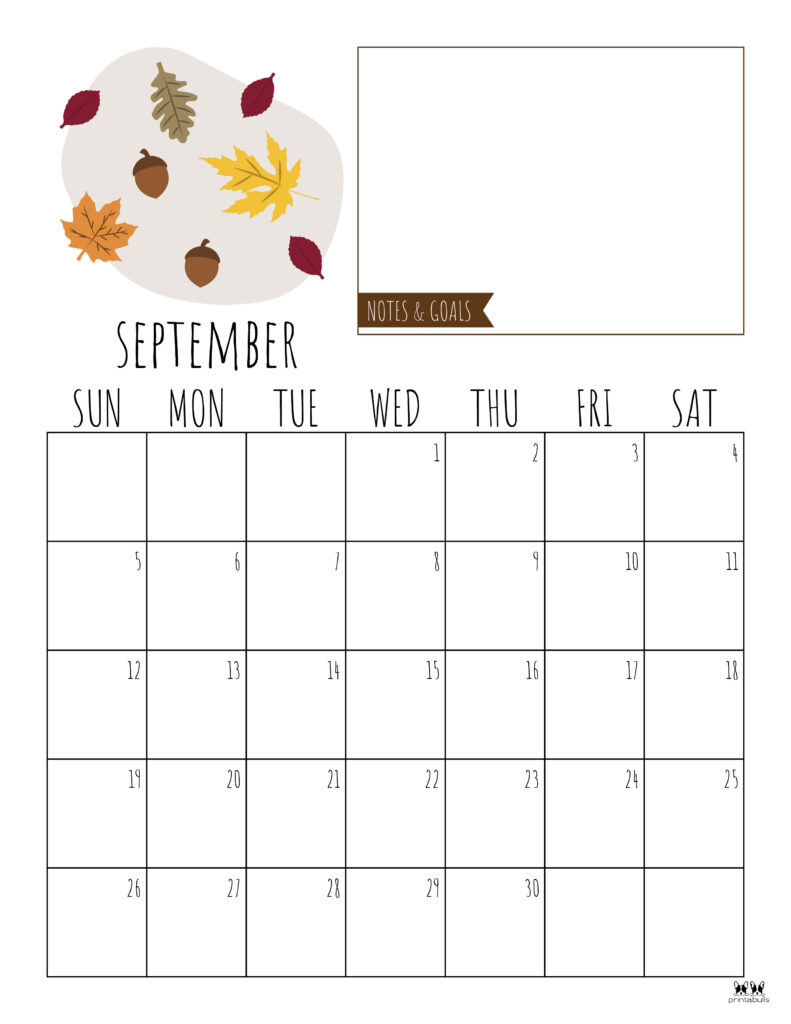 Printable September Calendar-Style 8