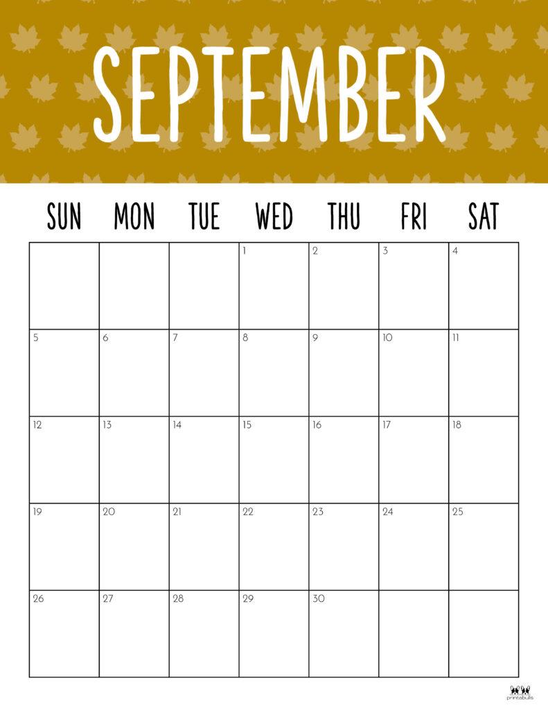 Printable September Calendar-Style 9