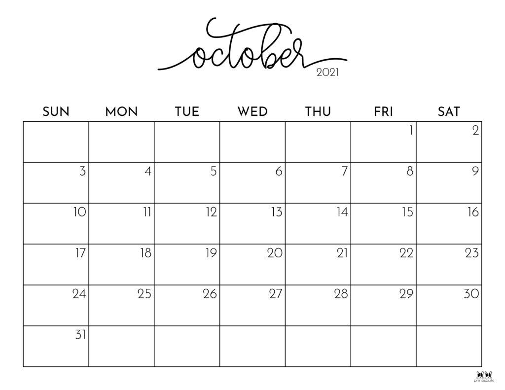 Printable October 2021 Calendar-Style 1
