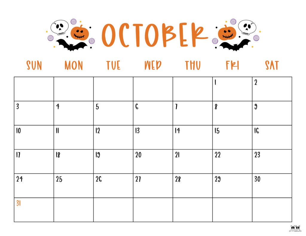 Printable October 2021 Calendar-Style 10