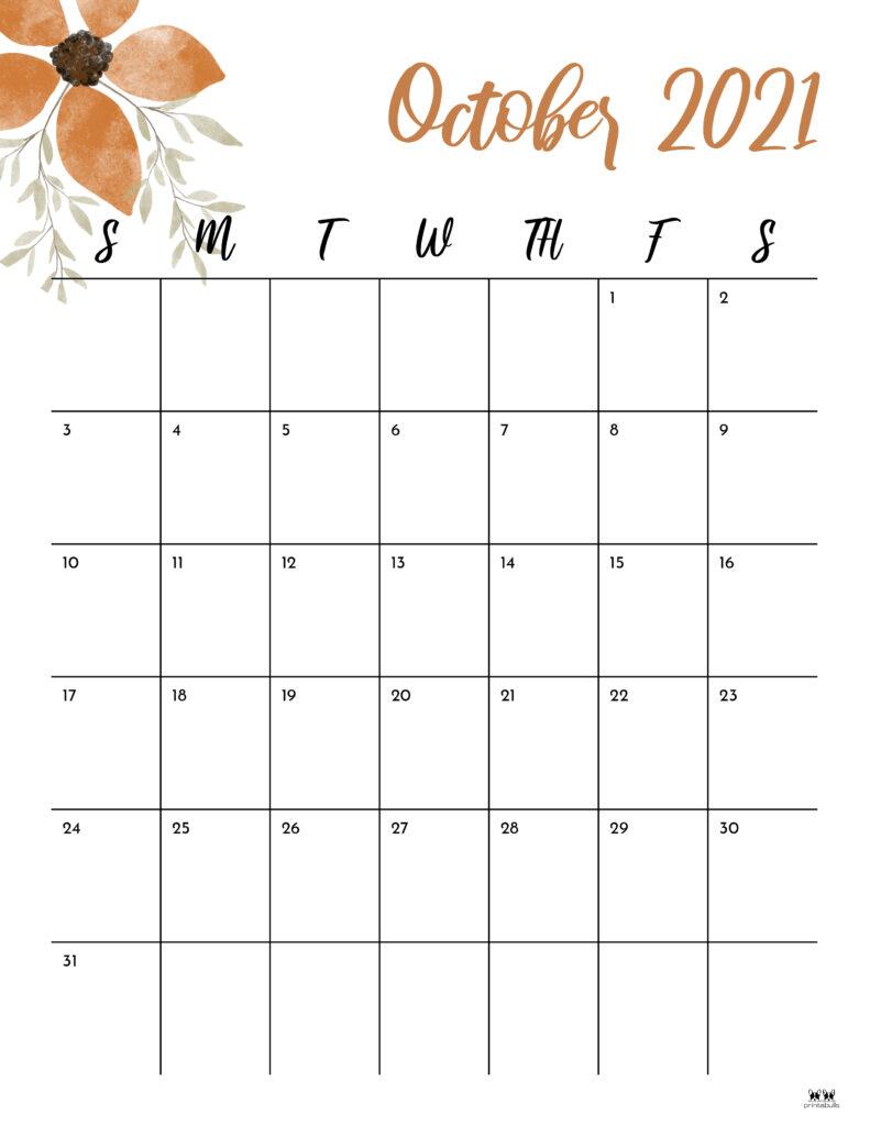 Printable October 2021 Calendar-Style 15