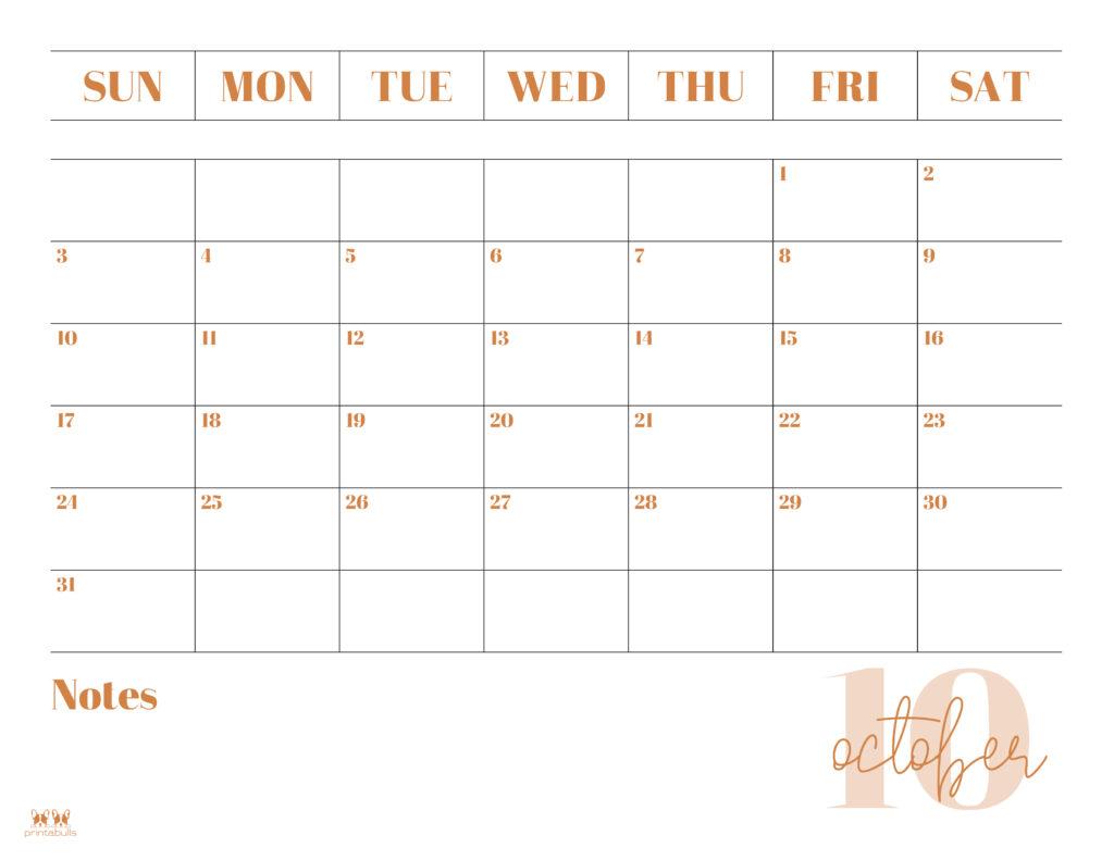 Printable October 2021 Calendar-Style 2