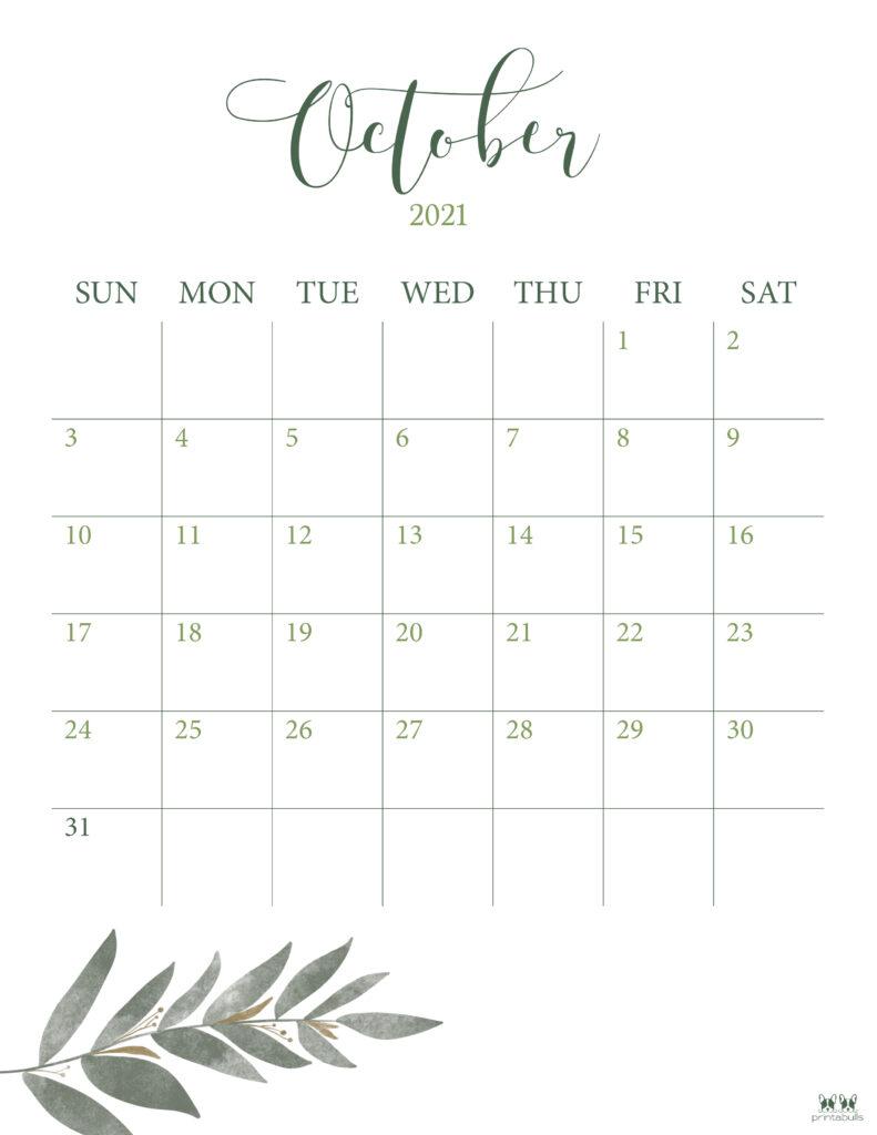 Printable October 2021 Calendar-Style 3