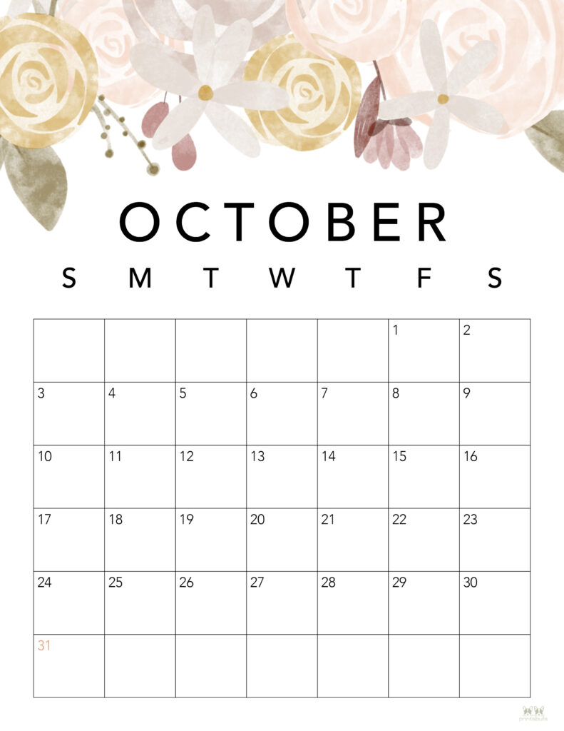 Printable October 2021 Calendar-Style 4