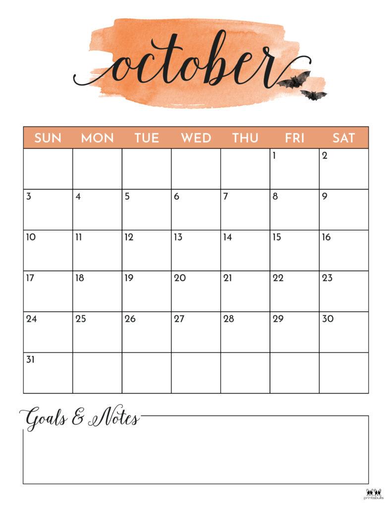 Printable October 2021 Calendar-Style 5