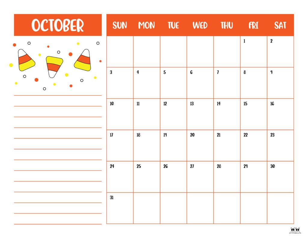 Printable October 2021 Calendar-Style 6