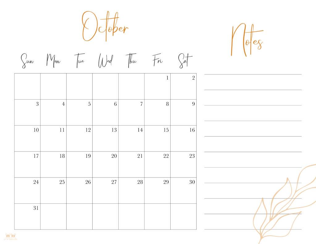 Printable October 2021 Calendar-Style 7