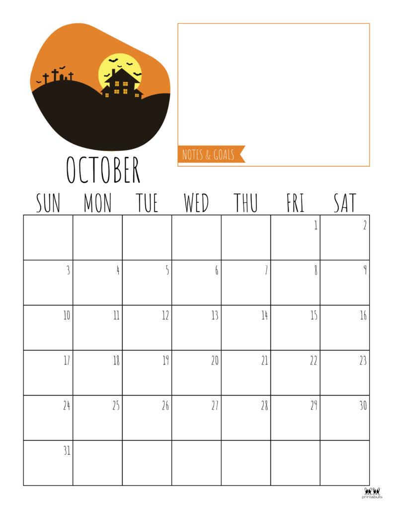 Printable October 2021 Calendar-Style 8