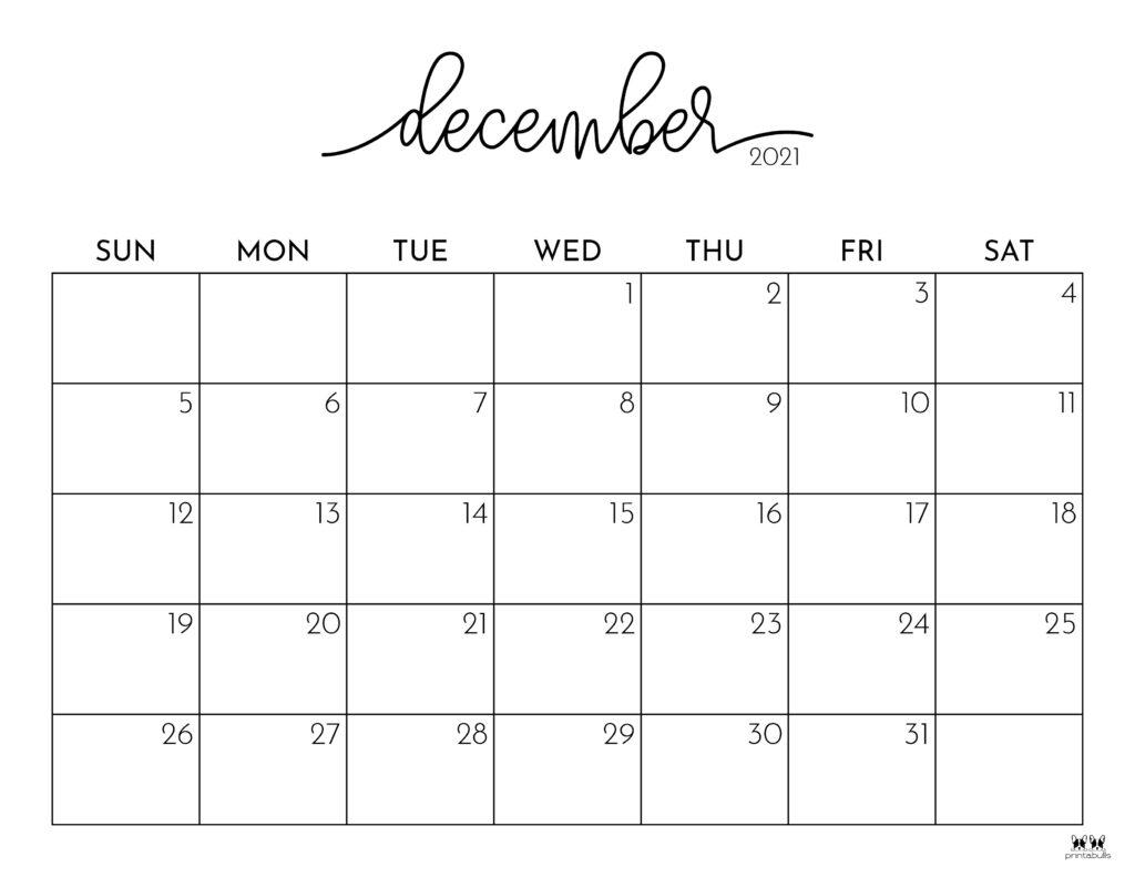 Printable December 2021 Calendar-Style 1