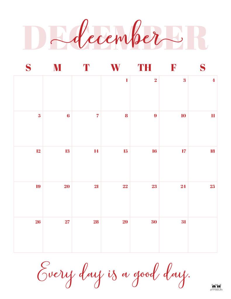 Printable December 2021 Calendar-Style 13
