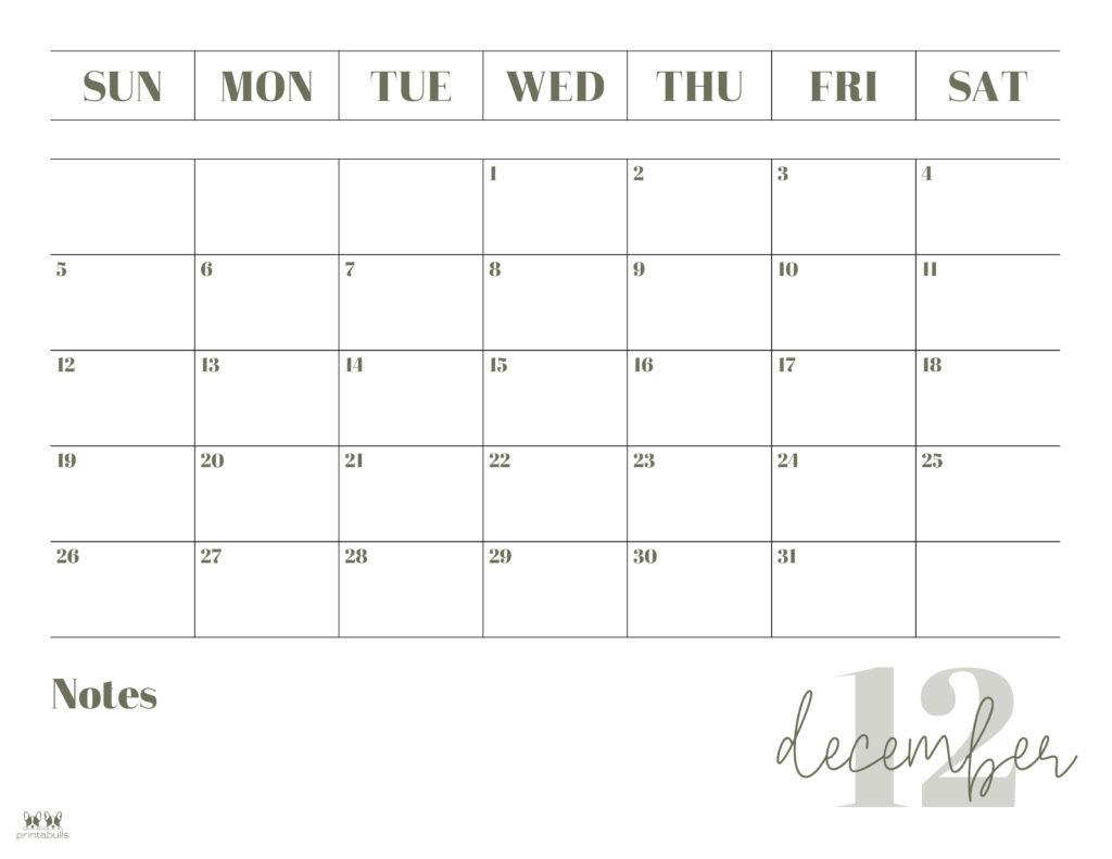 Printable December 2021 Calendar-Style 2