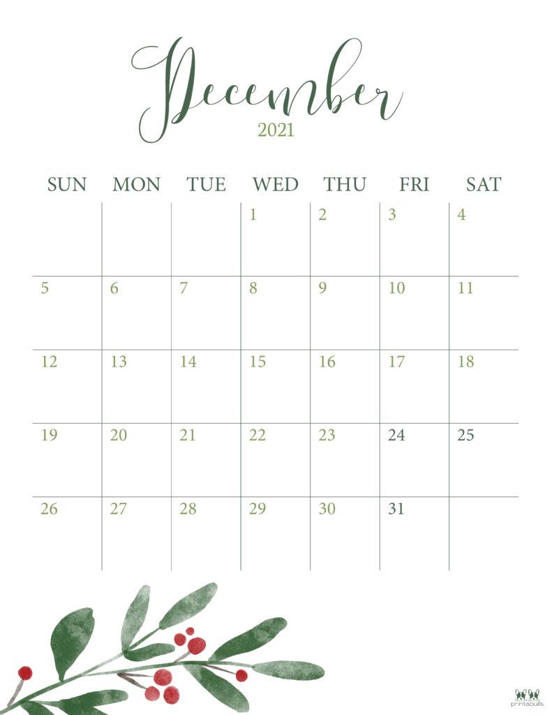 Printable December 2021 Calendar-Style 3