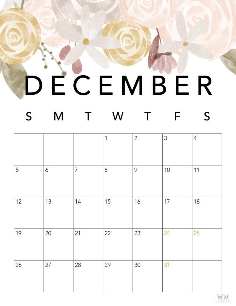 Printable December 2021 Calendar-Style 4