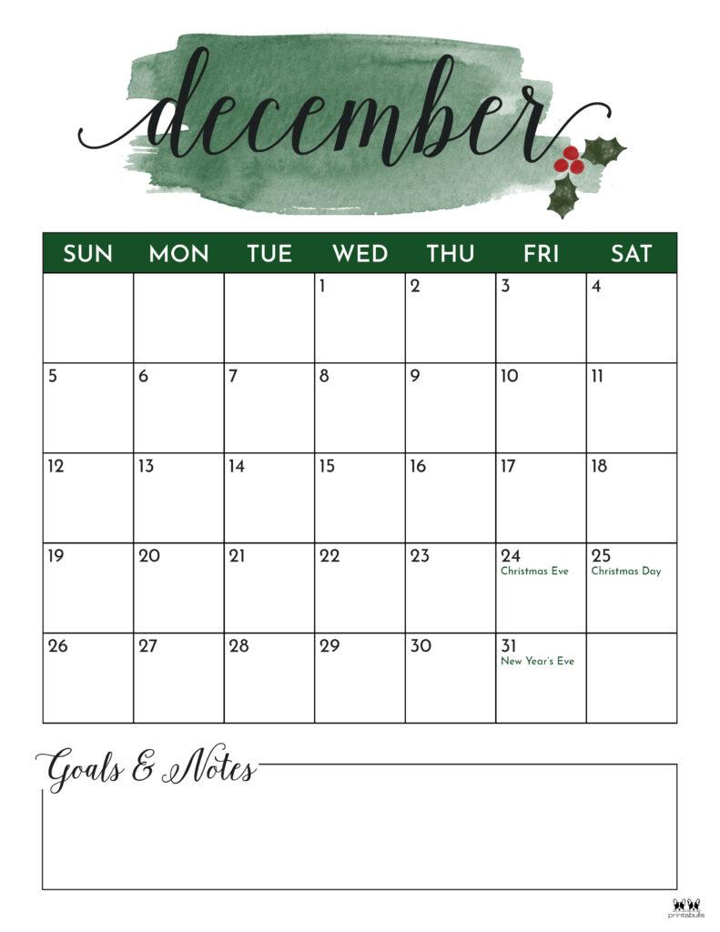 Printable December 2021 Calendar-Style 5