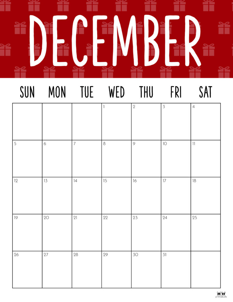 Printable December 2021 Calendar-Style 9