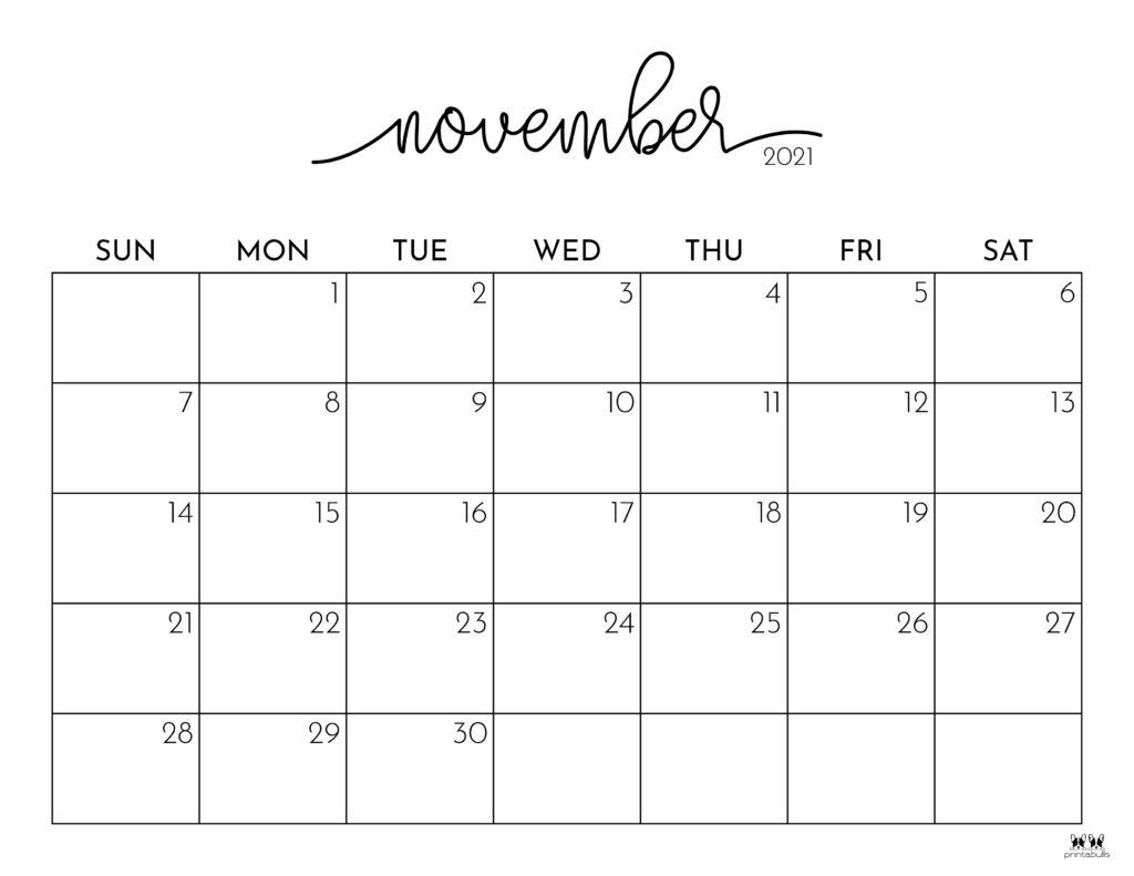 Printable November 2021 Calendar-Style 1