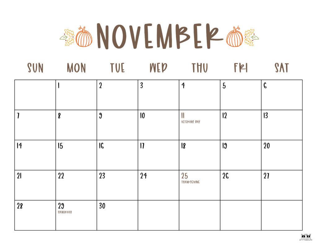 Printable November 2021 Calendar-Style 10