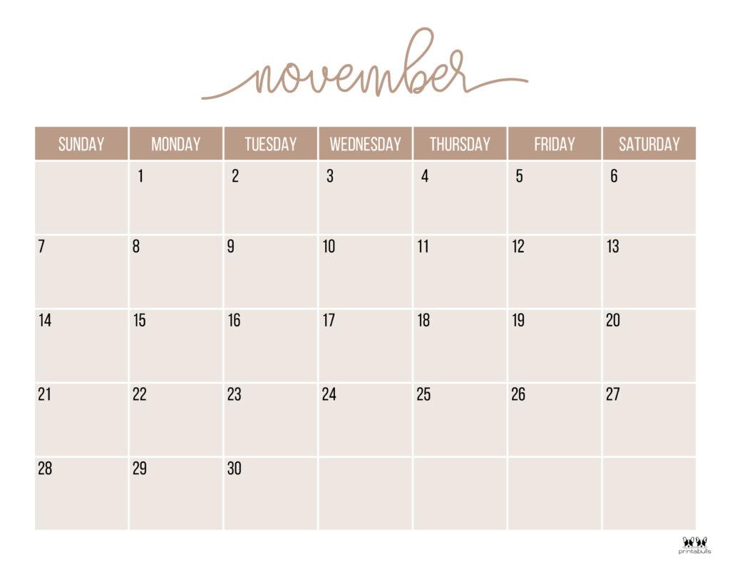 Printable November 2021 Calendar-Style 11