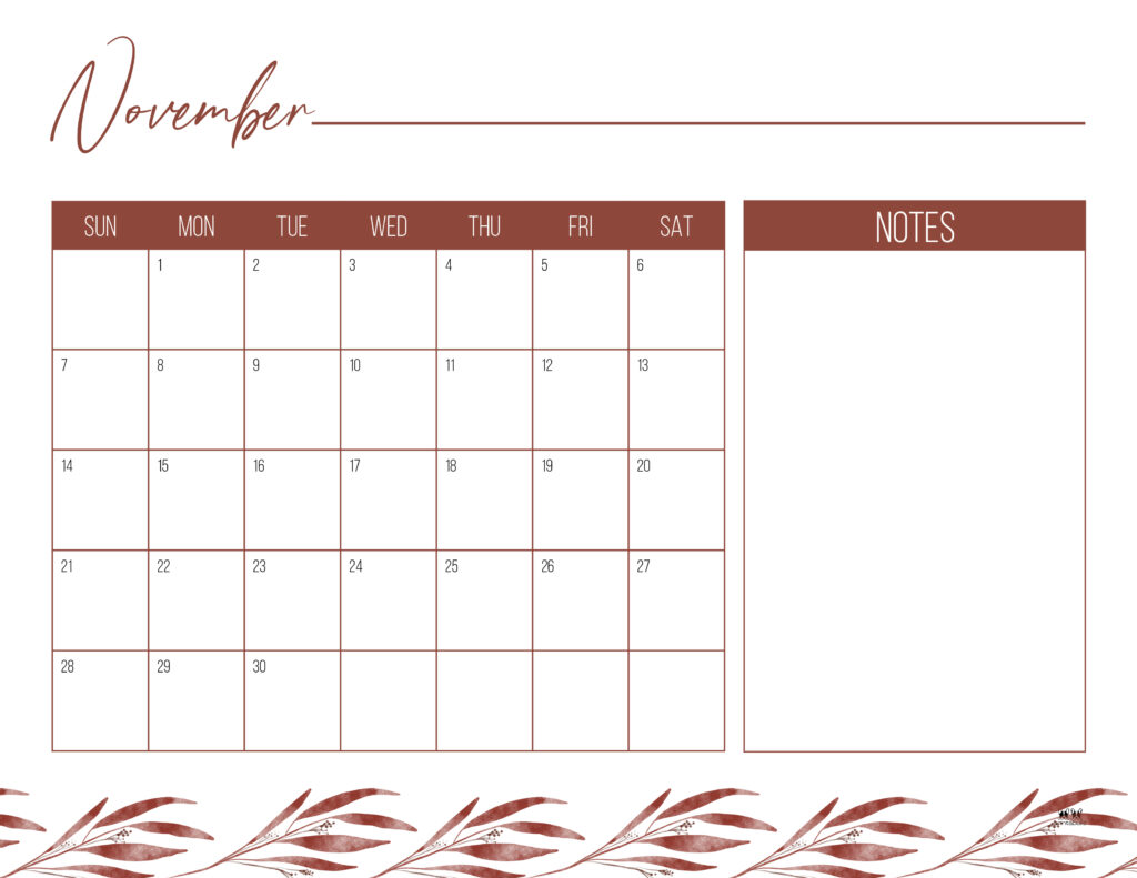 Printable November 2021 Calendar-Style 12