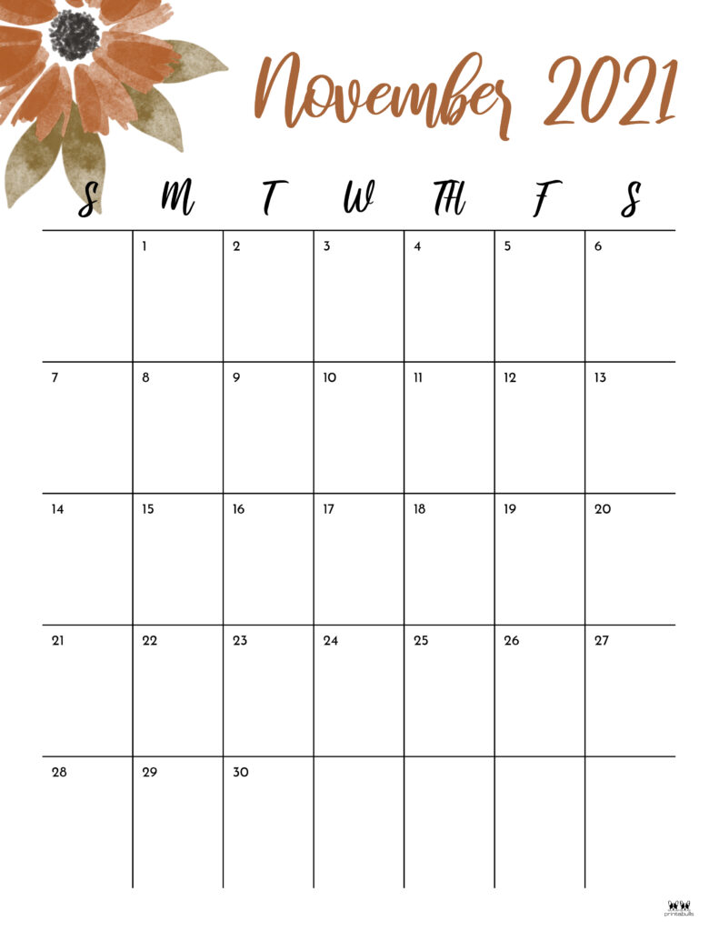 Printable November 2021 Calendar-Style 15