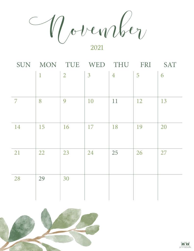 Printable November 2021 Calendar-Style 3